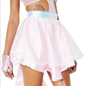 Dolls Kill pink high-low skirt small